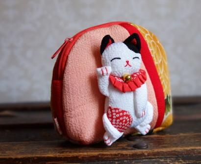 Japan Kyoto silk pouch lucky cat from craft shop in Arashiyama souvnir shopping