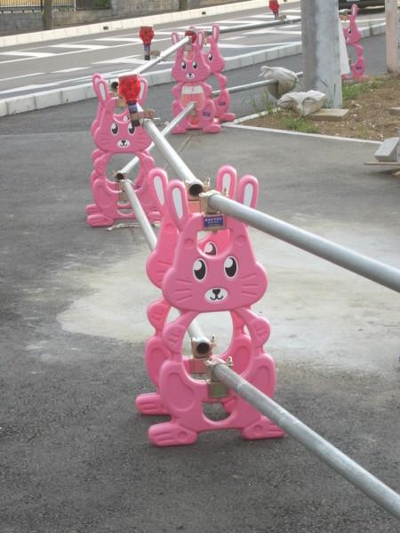 pink cute construction barrier bunnies japan