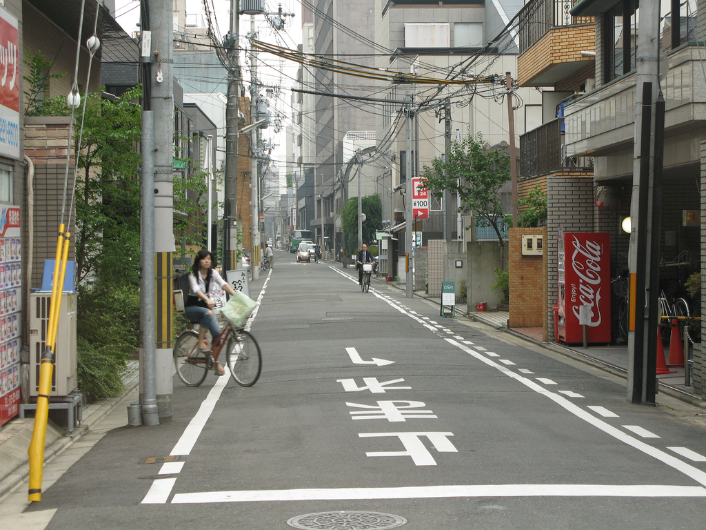 typical Kyoto modern concrete street