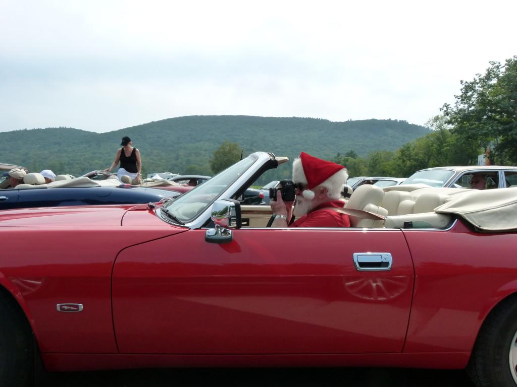 Santa in a Jaguar lime rock