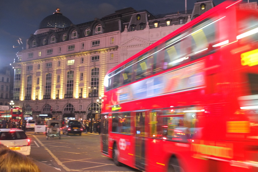 london double decker bus night piccadilly circus
