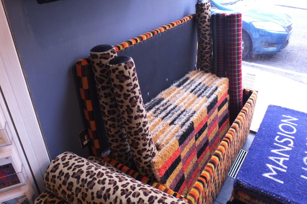 london transport museum gift shop souvenir moquette pillows and doormat
