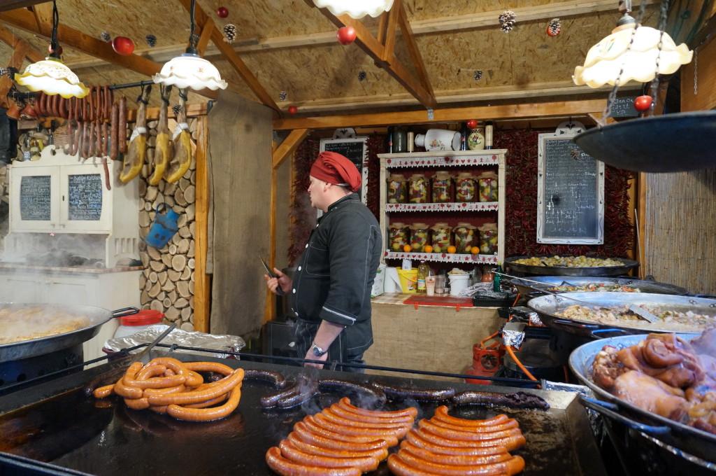 sausages hungarian sausages budapest christmas market fair hungarian food