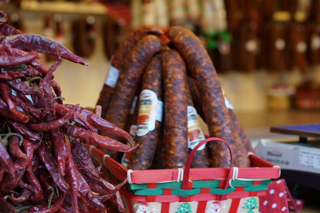 hungarian food  sausage budapest christmas market fair