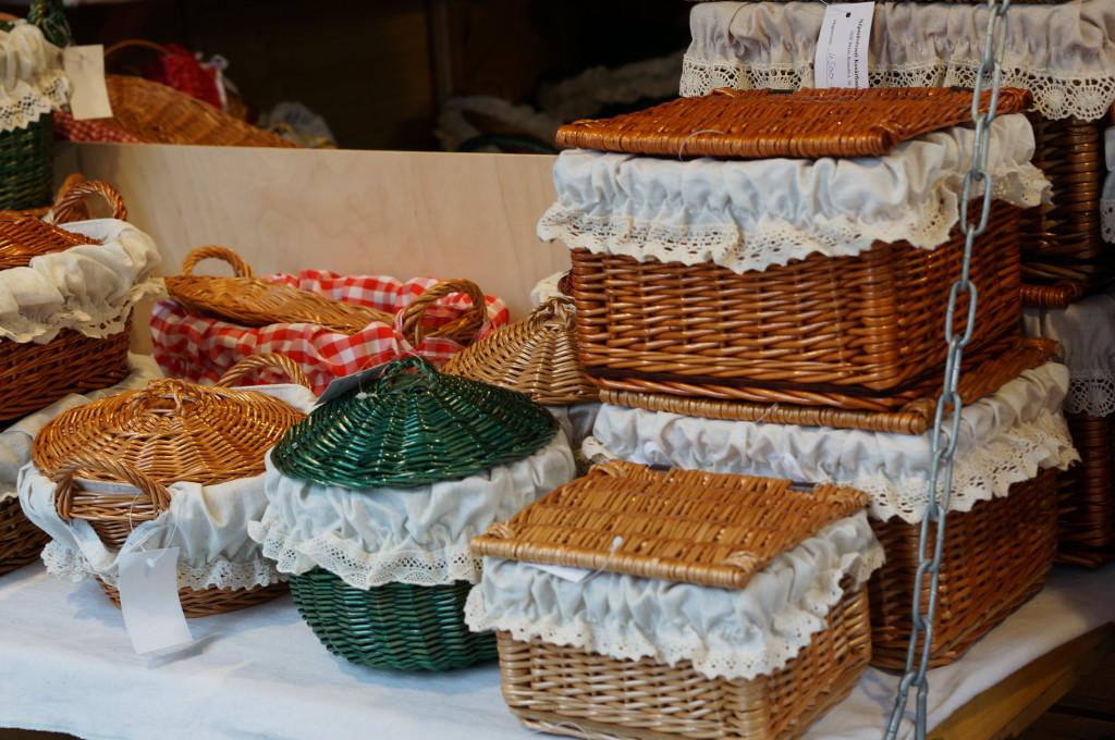 Baskets budapest christmas market souvenir hungarian  handmade craft  fair