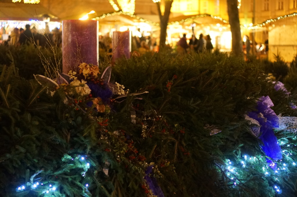 Budapest christmas market giant advent wreath candles