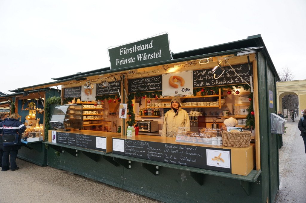 Schonbrunn Palace Christmas Market wurst sausage food stall