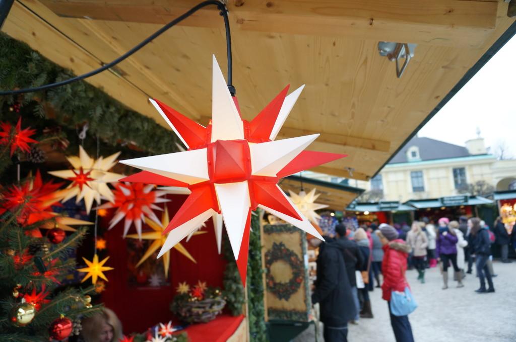 crafts vendor stall Schonbrunn Palace Christmas Market Vienna.