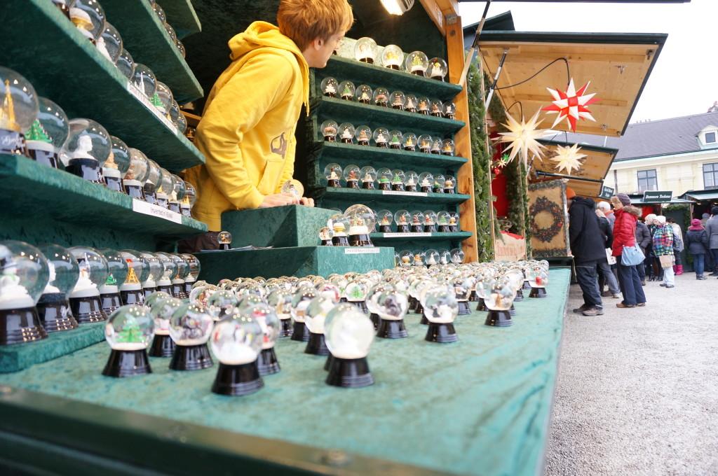 Schonbrunn Palace Christmas Market crafts vendor stalls decoration Vienna snow globes