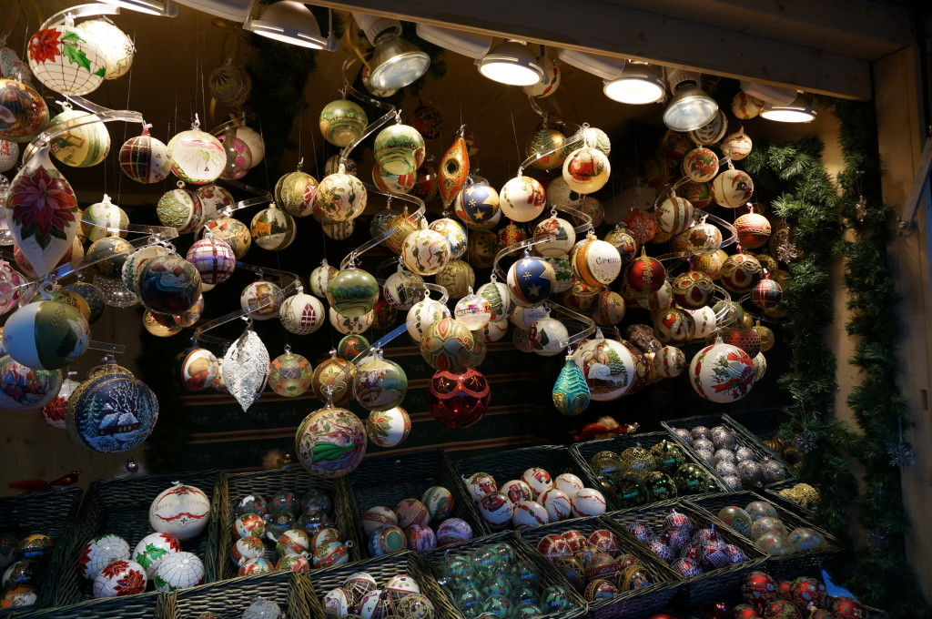 hand-blown glass ornaments Schonbrunn Palace Christmas Market in Vienna.