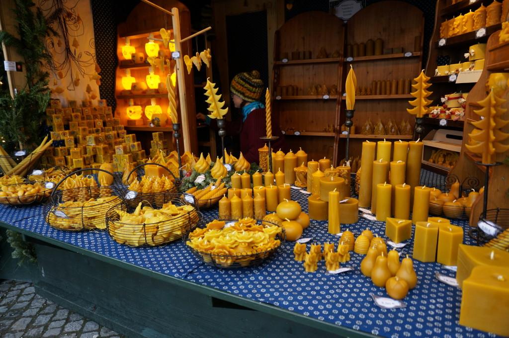 Vienna Schonbrunn Palace Christmas Market beeswax candles sell craft vendor