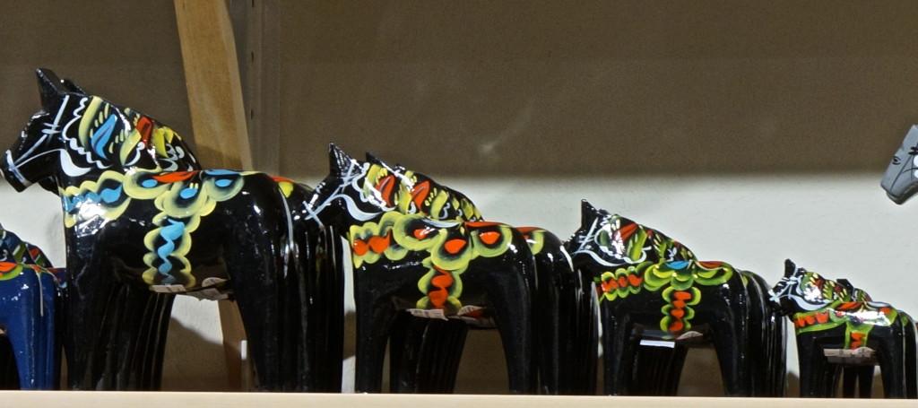 black dala horse hand painted sweden