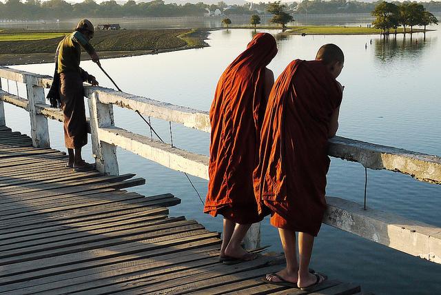 monks on ubein bridge