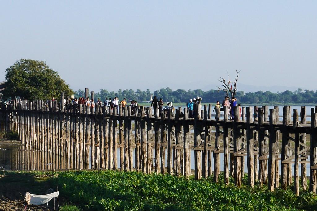 U Bein Bridge Mynamar Burma teak wood monks
