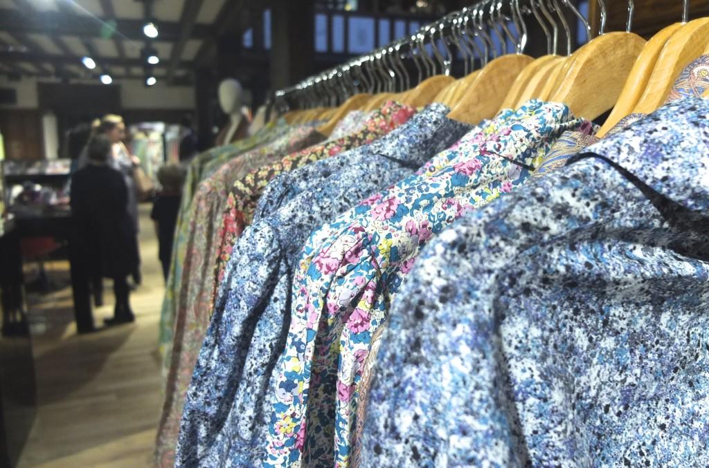 racks women's shirts made from Liberty London Art print fabrics