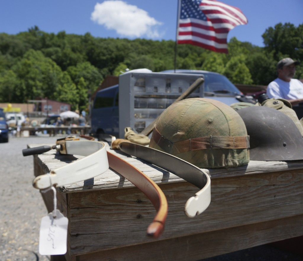 golden nugget flea market shopping cross bow and military helmets