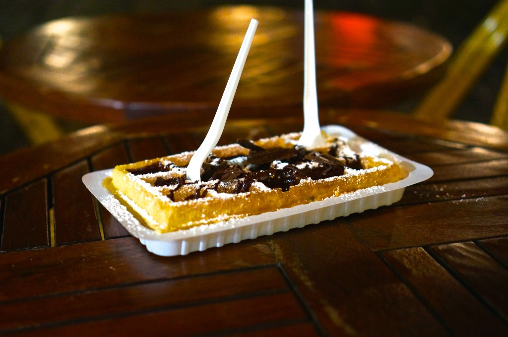Belgian waffle with shaved chocolate and powdered sugar Brussels Gaufre Liege