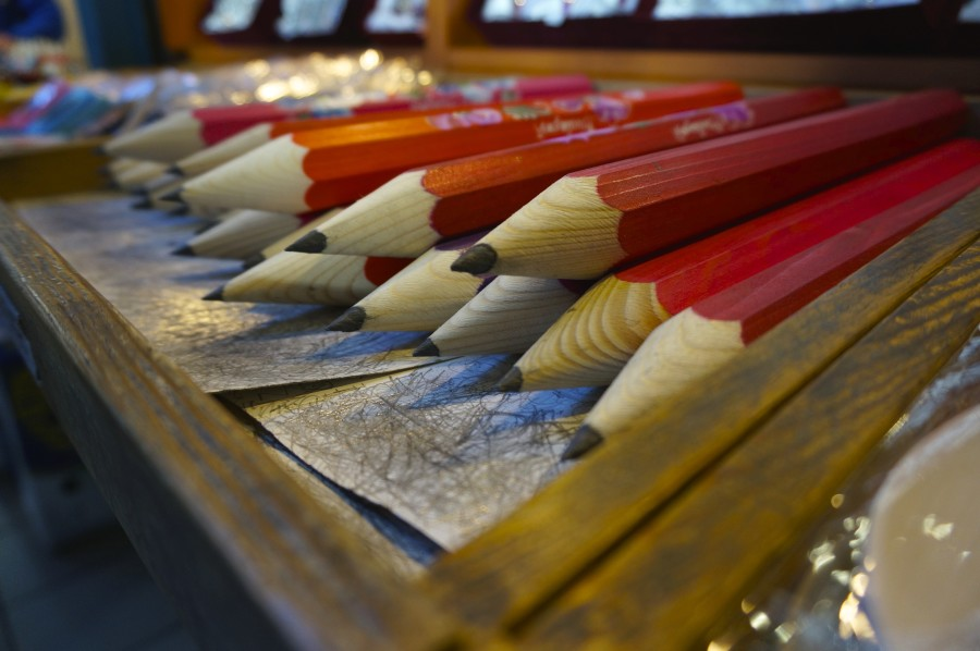 giant wooden pencils souvenir hungary budapest central market hall great