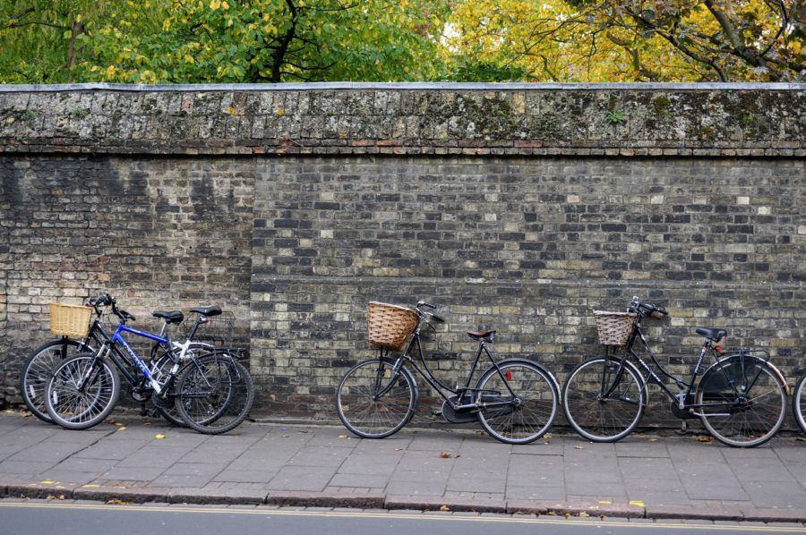 bicycles cambridge stone wall
