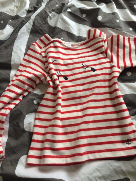 A cute classic Breton shirt from Petit Bateau wink red striped