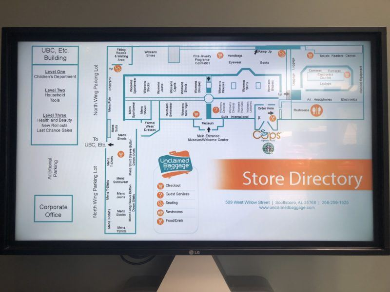 unclaimed baggage store directory map